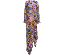 Floral-print devoré-chiffon midi dress