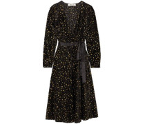 Satin-trimmed Metallic Flocked Chiffon Wrap Dress Black Size 0