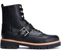 Ida buckled textured-leather ankle boots