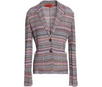 Metallic crochet-knit blazer