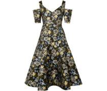 Yamal Cold-shoulder Floral-jacquard Dress Black
