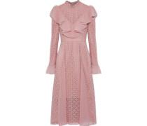 Prairie ruffled chiffon-paneled guipure lace dress