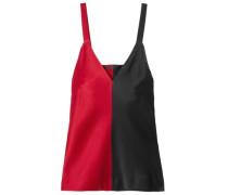 Two-tone Crepe-satin Camisole Crimson