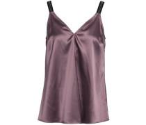 Bead-embellished Stretch-silk Satin Camisole Lavender