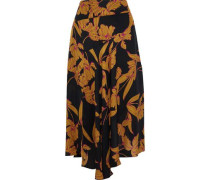 Lev Printed Silk Midi Skirt Black