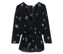 Rena Wrap-effect Floral-print Silk Peplum Top Black