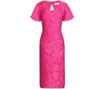 Cutout brocade midi dress