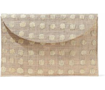 Embroidered woven straw envelope clutch