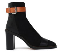 Buckled leather and suede ankle boots