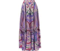 Metallic silk-blend fil coupé maxi skirt
