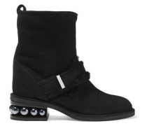 Woman Casati Shearling-trimmed Embellished Suede Ankle Boots Black