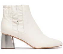 Ruffle-trimmed Leather Ankle Boots Cream