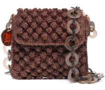 Metallic Crochet-knit Shoulder Bag Bronze Size --