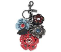Gunmetal-tone and studded leather keychain
