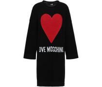 Appliquéd Intarsia-knit Mini Dress Black