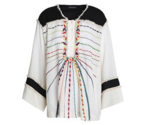 Fringe-trimmed embroidered cotton tunic