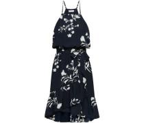 Floral-print Crepe De Chine Dress Midnight Blue