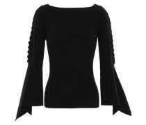 Fluted Ribbed Merino Wool-blend Sweater Black