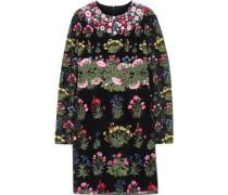 Embroidered Appliquéd Guipure Lace Mini Dress Black