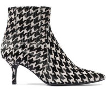 Houndstooth Calf Hair Ankle Boots White