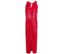 Hilo Ruffle-trimmed Ruched Sequined Crepe Midi Dress Red