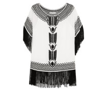 Natalie fringed embroidered silk-georgette top