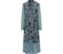 Woman Alanis Georgette-paneled Printed Silk Crepe De Chine Midi Dress Slate Blue