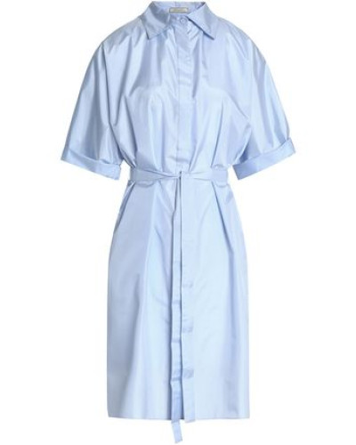 Belted silk shirtdress