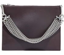 Chain-embellished leather shoulder bag