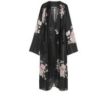 Floral-print Silk-georgette Robe Black