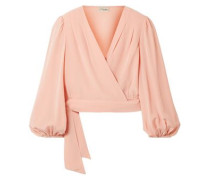 Eden Silk Crepe De Chine Wrap Top Blush