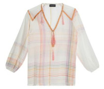 Calvin tasseled checked cotton-voile tunic
