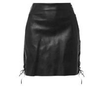 Lace-up Faux Leather Mini Skirt Black