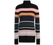 Striped Ribbed Merino Wool Turtleneck Sweater Multicolor