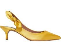 Rise Bow-embellished Satin Slingback Pumps Saffron