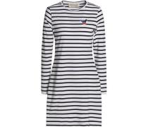 Appliquéd striped cotton-jersey mini dress
