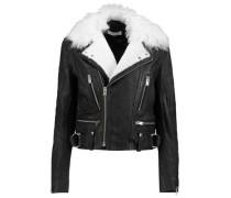 Shearling-trimmed leather biker jacket