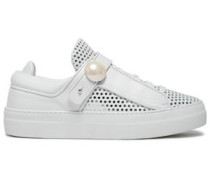 Faux Pearl-embellished Perforated Leather Sneakers White