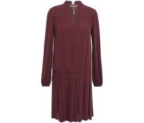 Cutout Pleated Embellished Silk-crepe Mini Dress Burgundy