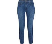 Nika Cropped Leopard-print Mid-rise Slim-leg Jeans Mid Denim  3
