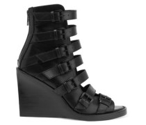 Buckled leather wedge sandals