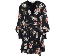 Black Rose Wrap-effect Floral-print Silk-georgette Mini Dress Black