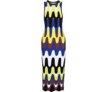 Runway laser-cut intarsia-knit midi dress