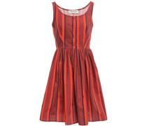 Striped Cotton-poplin Dress Brick
