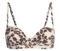Leopard-print Bikini Top Ecru