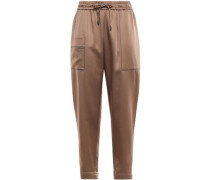 Cropped Bead-embellished Satin Track Pants Copper
