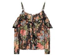 Cold-shoulder Floral-print Fil Coupé Georgette Top Black