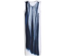 Draped point d'esprit-paneled silk dress