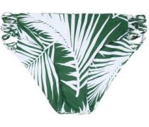 Macramé-trimmed printed mid-rise bikini briefs