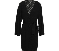 Woman Pointelle-knit Wool-blend Robe Black